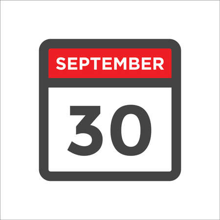 September 30 calendar icon with day & month Ilustrace