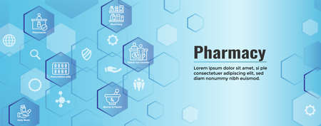 Pharmaceuticals & medications icon set with web header banner
