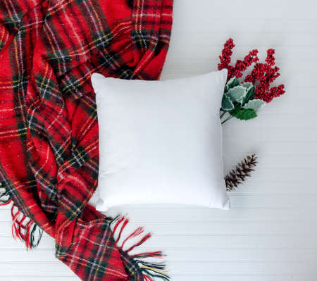 Pillow top view and styled with Christmas items with white background
