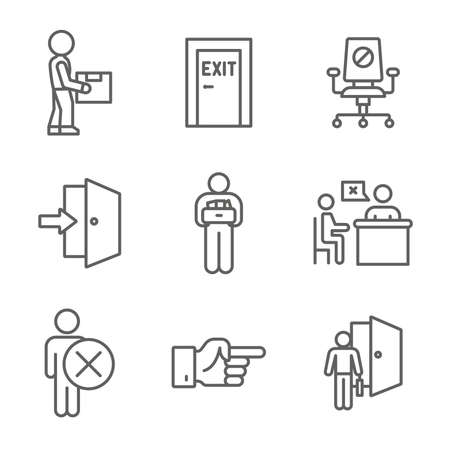 Job Loss, Downsizing, Getting Fired, Unemployment from pandemic Icon Set Vektorové ilustrace