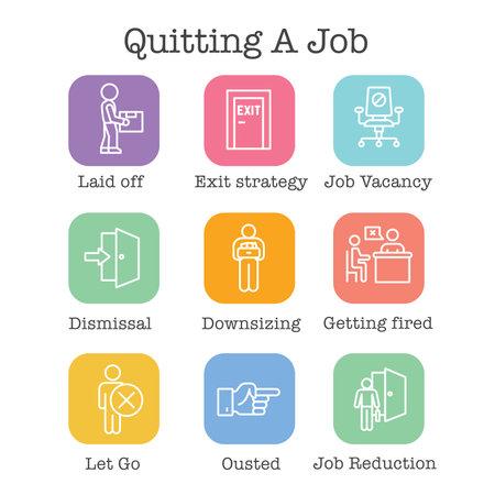 Job Loss, Downsizing, Getting Fired, Unemployment from Icon Set Vektoros illusztráció