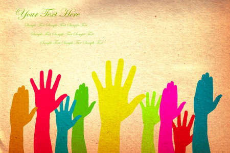 participate: Hands volunteering or voting Stock Photo