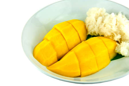 Thai sticky rice eat with mangoes, thai style tropical dessert photo