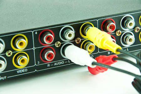 RCA A/V interconnection cable with audio and video inputs Stock Photo - 9199816