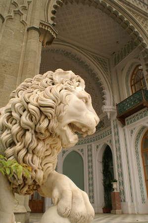 vorontsov: Stone lion sculpture on terrace of Vorontsov estate in the Crimea (19th-century)
