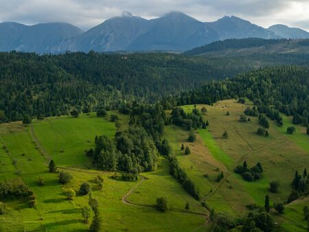 Summer in Spisz in Poland and Slovakia with view to Tatra Mountains.