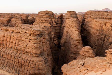 Labyrithe of rock formation called d'Oyo in Ennedi Plateau on Sahara desert, Chad, Africa.