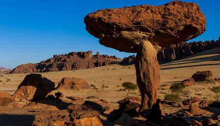 Sandstone towers in form of mushroom in the Ennedi desert of Chad, Africa