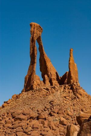 Abstract rocks formation in lyre shape at plateau Ennedi, in Sahara desert, Chad, Africa