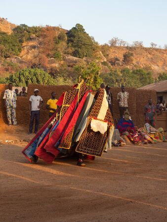 Dassa, Benin - 31/12/2019 - Ceremonial mask dance, Egungun, voodoo, Africa Stok Fotoğraf