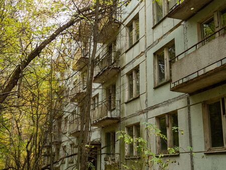 Abandoned residential building. Previous roads and alleys are taken by trees and bushes. Ghost town of Pripyat, Chernobyl Exclusion Zone. Ukraine.