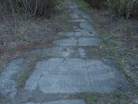 Cracow / Poland- 27/04/2020. The path from the artificial Jewish tombstones in the Lebanon quarry, build by movie crew. In this place Schindler?s list was shot.