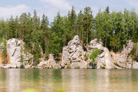 Beautiful landscape of Adrspach. Mountain lake in summer.
