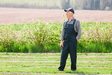 Senior gardener standing in garden. Aged man in overall and baseball cap. Old smiling farmer.