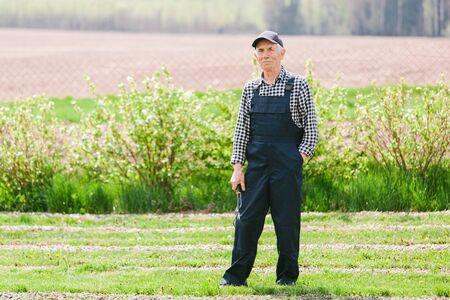 Senior gardener standing in garden. Aged man in overall and baseball cap. Old smiling farmer. 版權商用圖片 - 147905246