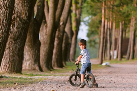 Cute little boy on balance bike. Kid on bicycle. Preschooler learning to balance on run bicycle. Sport for kids. Backview