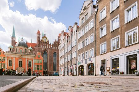 Gdansk is the largest port historical tourist center of Poland and Eastern Europe, with attractions - fountains in the streets and squares 版權商用圖片
