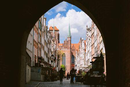 Mariacka street, a famous European street in Gdansk. St. Mary's church