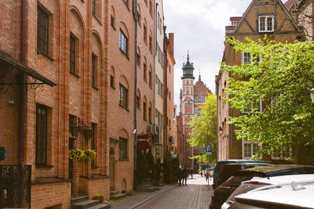 Streets of the city of Gdansk. Main sights of the city. Gdansk is the historical capital of Polish Pomerania with beautiful architecture.