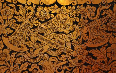Traditional Thai art on wall Grand Palace Bangkok Thailand photo