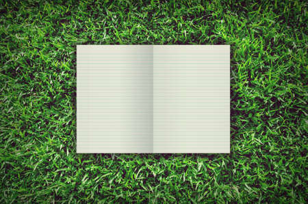 Empty open Notebook on background grass photo