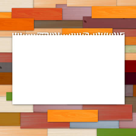 Empty torn paper on colorful wooden background photo