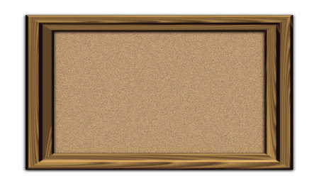 Empty cork notice board isolated with wood frame photo