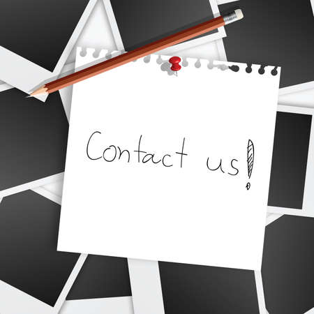Contact us note on instant photo background