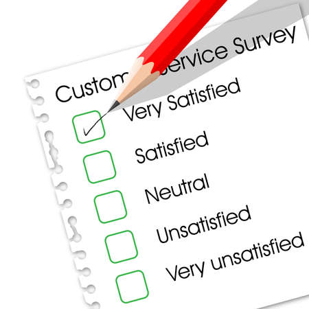 satisfied:  check box in customer service survey form