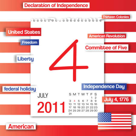 Note paper calendar of 4th of July independence day with concept word of the day Vector
