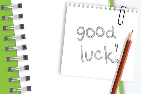 good luck: Good luck word on note paper