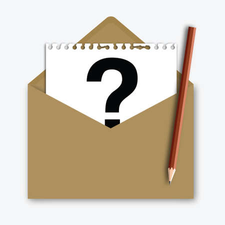 Mail with Question Mark on note paper with pencil Vector