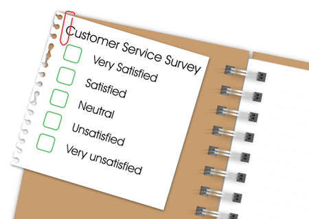 unsatisfied: Customer service survey with notebook Illustration