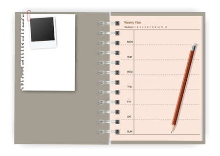 Notebook paper note with pencil weekly planner Stock Photo - 11153806