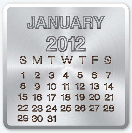 January calendar with metallic effect for 2012 photo