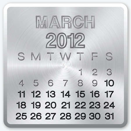 March calendar with metallic effect for 2012 photo