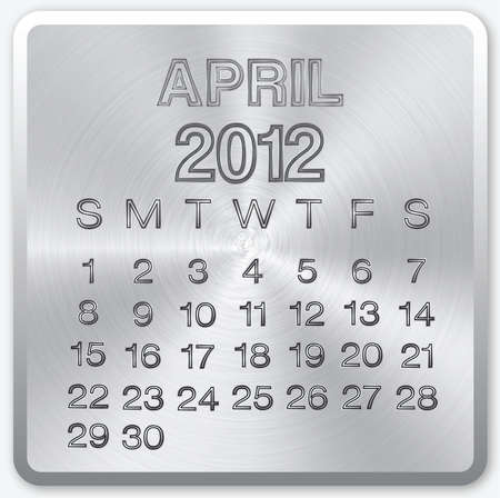 April calendar with metallic effect for 2012 Stock Photo - 11213272