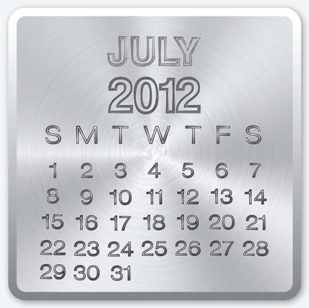 july calendar: July calendar with metallic effect for 2012 Stock Photo