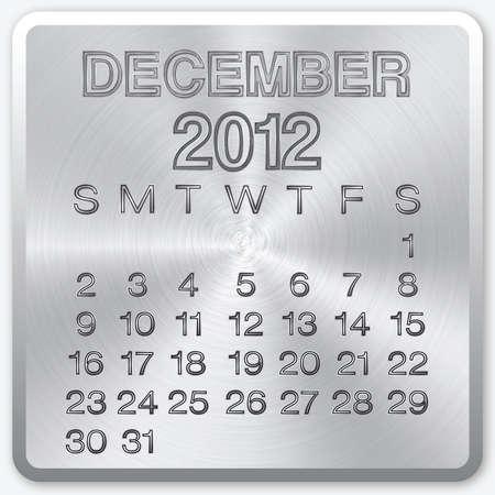 december calendar: Dicembre calendario con effetto metallico per il 2012