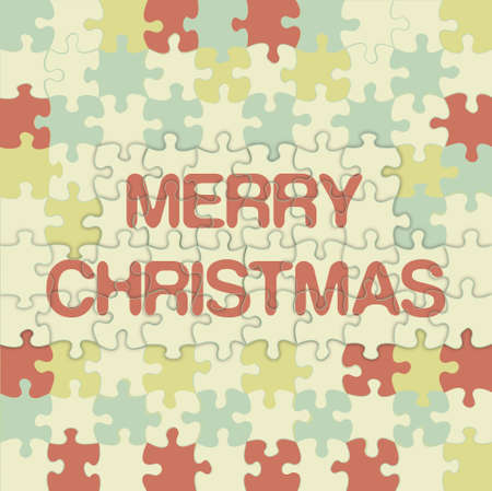 Merry Christmas jigsaw background vector Illustration