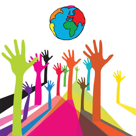 world group: Colorful Hand Under The World