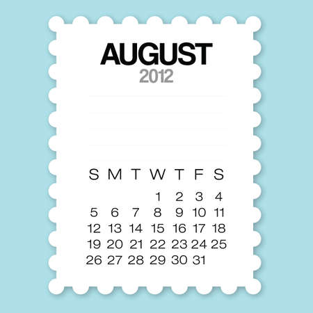 Calendar August 2012 with circle edge paper vector Stock Vector - 12031016
