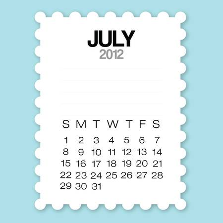 Calendar July 2012 with circle edge paper vector Vector