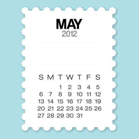 Calendar May 2012 with circle edge paper vector Vector