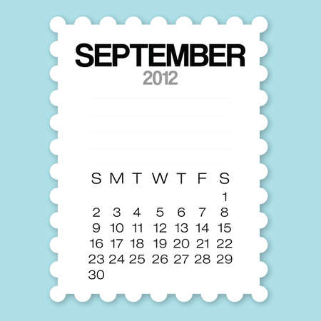Calendar September 2012 with circle edge paper vector