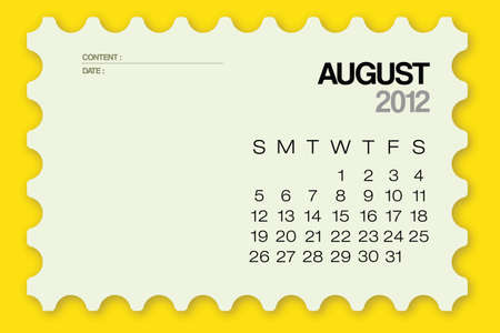 2012 Calendar August Card Vector Illustration