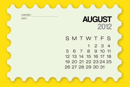 2012 Calendario agosto de tarjetas Vector