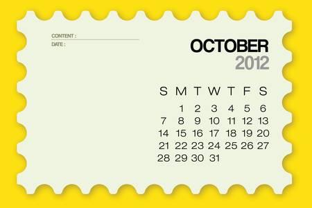 kalender oktober: 2012 Kalender oktober Card Vector