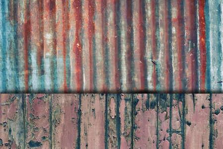 Rusty viejo hierro corrugado y grunge valla de madera
