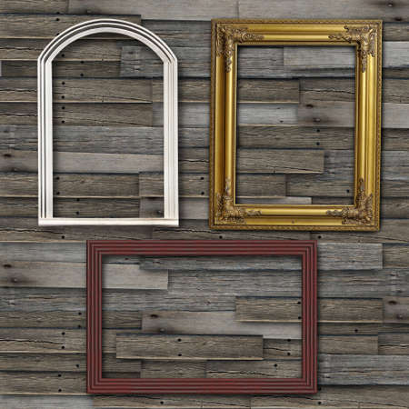 Picture Frame on grunge wood wall Stock Photo - 12391561